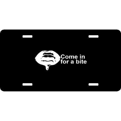 Vampire Teeth Halloween Fangs Come in for A Bite Custom Novelty Front License Plate Cover Aluminum Decorative Humor Funny Car Tag Sign with 4 Holes (12 X 6 inches) -