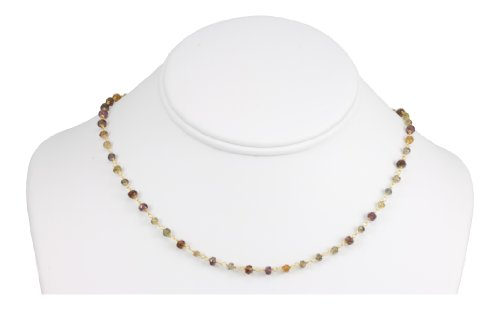 14k Gold Filled Tundra Sapphire Necklace Faceted Multi Color Beaded Goldtone Chain 18