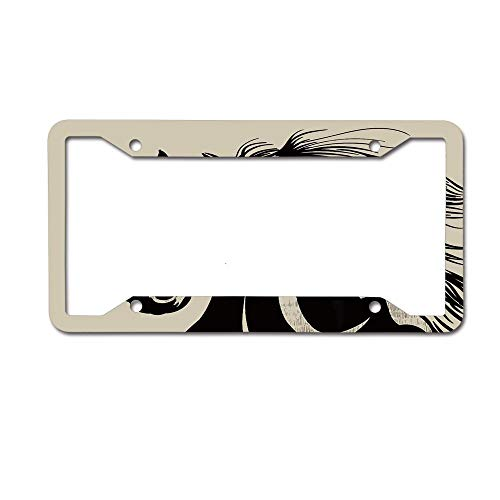 MichelleSmithred Hand Sketch Horse Head with a Mane License Plate Frame Aluminum Metal Tag for US Canada Standard 4 Holes Screws