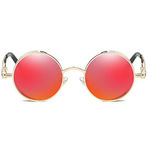 885d42d3c383 Dollger Vintage Steampunk Men Small Round Sunglasses Red Lens - Import It  All