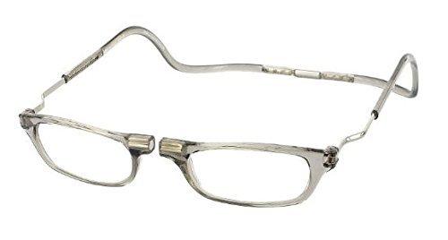 CliC Reader XXL Single Vision Half Frame Designer Reading Glasses, Smoke, +1.50
