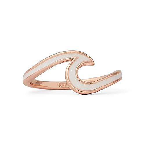 Pura Vida Rose Gold-Plated Enameled Wave Ring Sizes 5-9 Brass Base Band