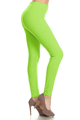 LDR128-NeonGreen Basic Solid Leggings, One Size -