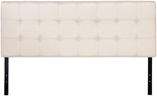 AmazonBasics Faux Linen Upholstered Headboard - Beige, Queen (Headboard Upholstered)