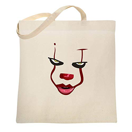 Clown Face Horror Halloween Scary Natural 15x15 inches Canvas Tote Bag -