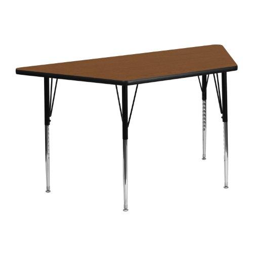Flash Furniture 25''W x 45''L Trapezoid Oak HP Laminate Activity Table - Standard Height Adjustable Legs