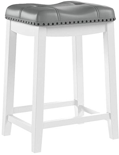 Angel Line Cambridge 24'' Padded Saddle Stool, White w/Gray Cushion by Angel Line