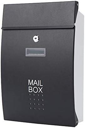 メールボックス ヨーロピアンスタイルのレターボックス屋外防雨メールボックスマガジンボックスのヴィラガーデンウォールマウント 住宅に適しています (Color : Black, Size : 37.5x8.5x25.5cm)