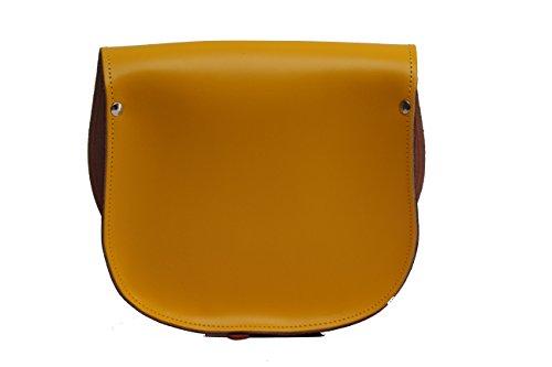 Gelb und Orange Zwei Farbe / Dual / Kontrast / Echtes Leder Sattel Crossbody Handtasche mit Wšlbungs-Verschluss und justierbarem BŸgel. In vielen Kombinationen erhŠltlich