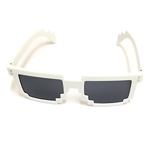 Pixel Kids Sunglasses White - Novelty Retro Gamer Geek Glasses for Boys and Girls Ages 6+ by - Ocelot Sunglasses