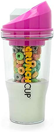 The CrunchCup - A Portable Cereal Cup - No Spoon. No Bowl. It's Cereal On The Go. (Pink)