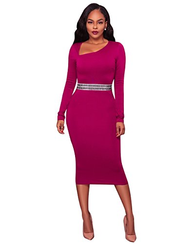 Felicity Young Women's Long Sleeve Asymmetric Neck Rhinestone Embellished Cocktail Bodycon Pencil Party Midi Dress Purple, XX-Large (Studded Dress Gown Ball)