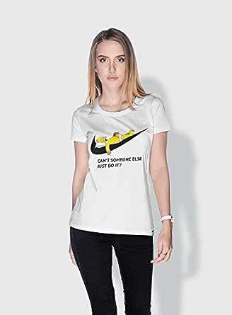 Creo Simpson Minions Round Neck T-Shirt For Women - White, S
