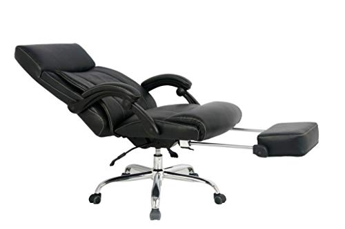 MDL Furniture Reclining Office Chair High Back Executive Chair with Any Angle Recline Lock System Racing Chair with Footrest Bonded Leather(Black)