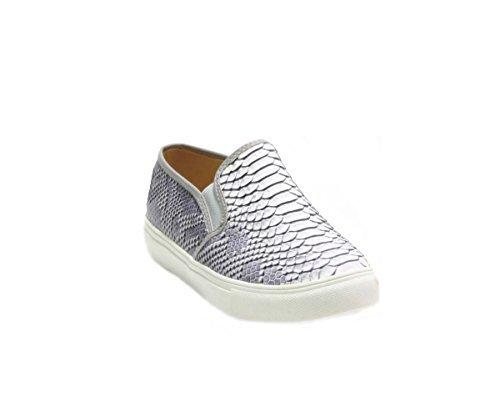 JustGlam - Scarpe Donna Sneakers slip ons effetto pitonato in ecopelle platform in gomma / Grigio 40 2ShJsR75Y