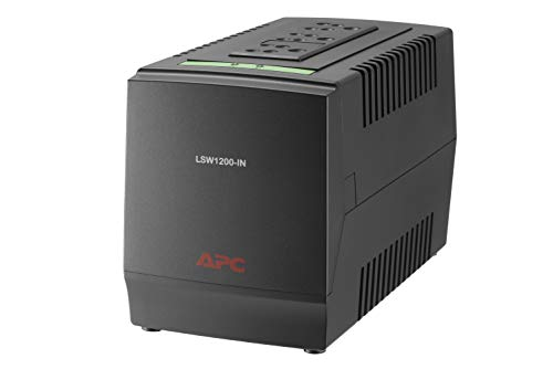 APC LSW1200 ?? 600 Watt, 230V - Voltage Stabilizer (160-285V Range), Ideal for Large Refrigerator, Home Electrical… 2021 August 1200VA / 600 Watt Automatic Voltage Regulator Device (Without Battery Backup). Input frequency : 50 Hz +/- 5 Hz Ideal for Home Electronics and Electrical Appliances with load capacity upto 600 Watts Handles power fluctuation effectively with wide Voltage Range of 160 to 285 Volts