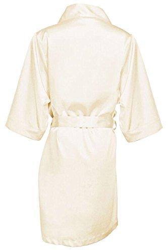 Ivory Eggplant (GirlEO Girl's Ivory Satin Bridal Party Robes- Girl S)
