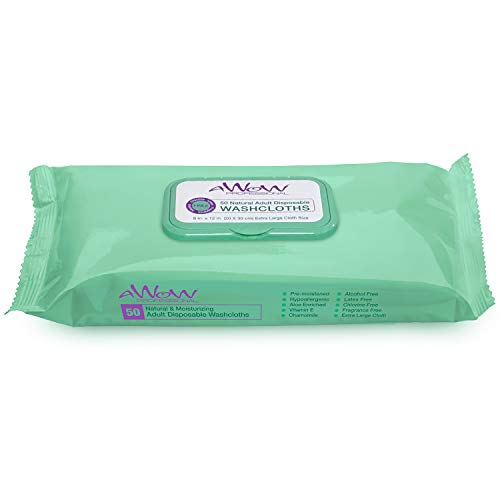 AWOW Professional Natural Adult Disposable Cleansing Washcloths, 50 Large Incontinence Wipes (1 Pack)