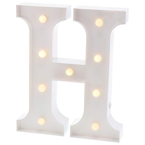 Barnyard Designs Metal Marquee Letter H Light Up Wall Initial Wedding, Bar, Home and Nursery Letter Decoration 12