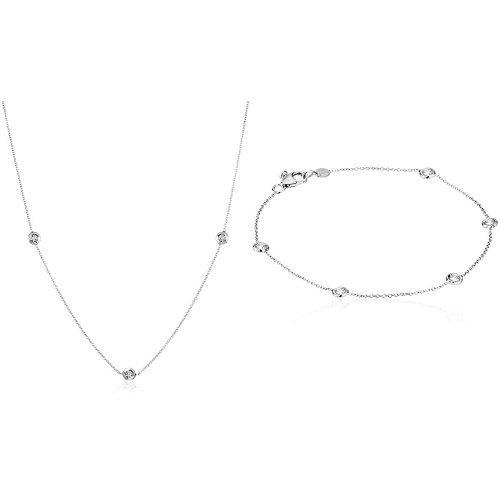 (Roberto Coin Tiny Treasures 18k White Gold 5-Station Diamond Pendant Necklace and Diamond Bracelet Set)