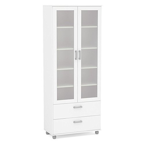 Polifurniture 120923540005 Livramento Bookcase, 2 Glass Doors & 2 Drawers, White