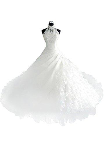 - MaraBridal Luxury A-line High Collar Neckline Cathedral Train Satin Organza Wedding Dresses with Beadings & Rhinestones (2, White)