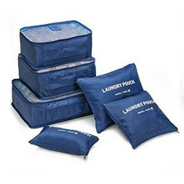 Foryee Waterproof Portable Multifunction Packing Cubes Mildew Proof Storage Bag for Travel Home Outdoor Hiking Camping (Pack of 6,Navy Blue)