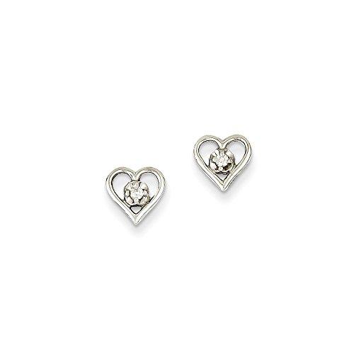 Diamond Aa Earring Heart (14k White Gold AA Diamond Heart Earrings)