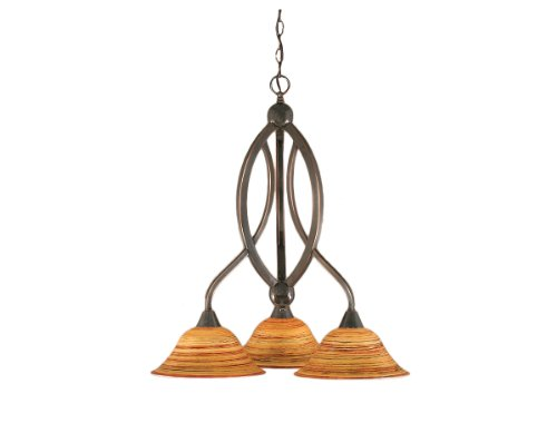 Toltec Lighting 263-BC-434 Bow Three-Light Down light Chandelier Black Copper Finish with Firré Saturn Glass Shade, 10-Inch ()