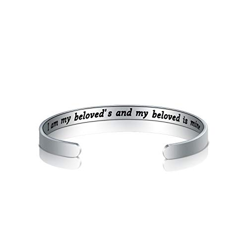 WUSUANED Judaica Jewish Gift I Am My Beloveds and My Beloved is Mine Hebrew and English Bracelet Jewish Jewelry Gift for Her (I am My beloveds Cuff Bracelet)