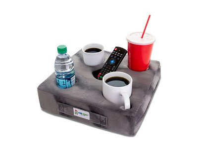 Cup Cozy Deluxe Pillow (Gray)- The world's BEST cup holder! Keep your drinks close and prevent spills. Use it anywhere-Couch, floor, bed, man cave, car, RV, park, beach and more!