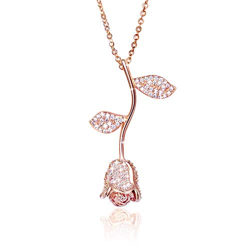 MQiong 18K Rose Pendant Valentine Necklace 3D Bling Vintage Elegant Rose Flower Chain Necklaces Romantic Gifts for Women Wife Girlfriend Lovers Rose Gold