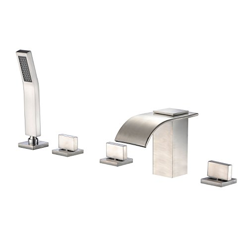 (Roman Tub Faucet with Hand Shower, Waterfall Tub Filler Deck Mount Brushed Nickel, Sumerain)