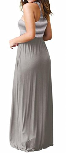 Patchwork Swing Summer Women Grey with Pockets Beach Striped Sleeveless Domple Maxi Dress pxqF5SwYYU