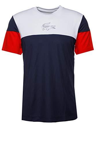 (Lacoste Men's Sport Short Sleeve Ultra Dry Technical Color Blocked T-Shirt, White/Navy Blue/red, Medium)