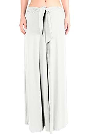 LeggingsQueen Women's Rayon Wide Leg Pants (White, X-Large)