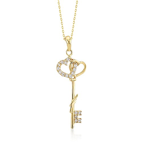 Gelin 14k Yellow Couple Heart Key CZ Pendant Chain Necklace for Women, 18 Inc
