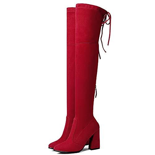 Moda Moda Moda Ginocchio rosso Stivali 2 Zanpa Donne Pull On 5Btqq0