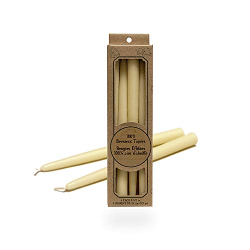 100 Percent Pure Beeswax Taper Candles. Box of 4 / 9.5 Inch. ()