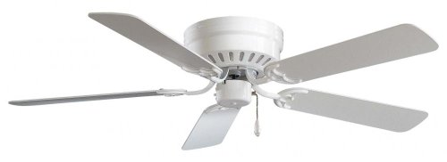 Collection Three Wall Alcove Installation - Minka-Aire F565-WH Flush Mount, 5 White Blades Ceiling fan, White