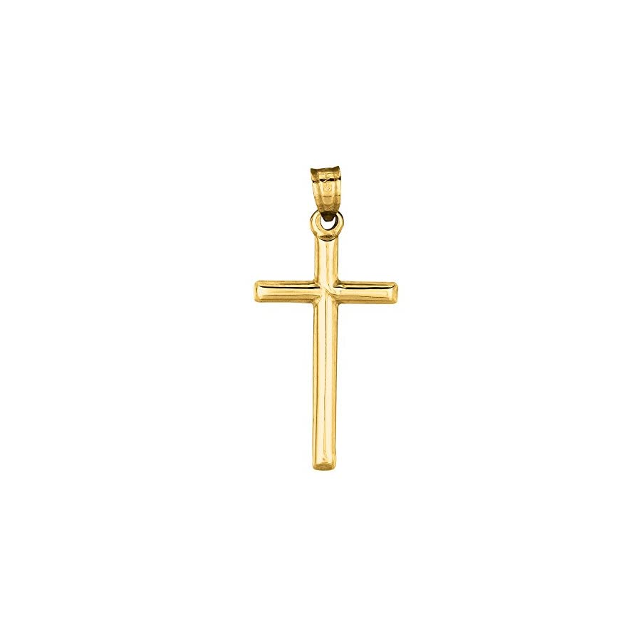 14K Real Yellow Gold Tubular Cross Charm Necklace 18 Inches