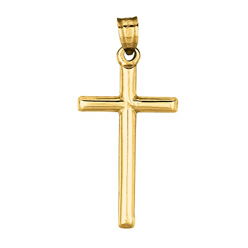 Children's 14K Real Yellow Gold Tubular Cross Charm Necklace 16 Inches by Ritastephens (Image #1)