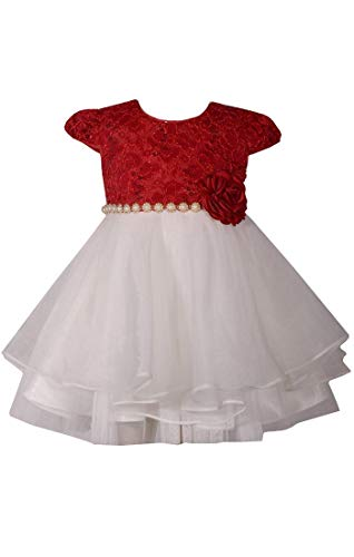 Bonnie Jean Little Girls 2T-4T Cap Sleeve Lace to Organza Holiday Dress - 3T, Red ()