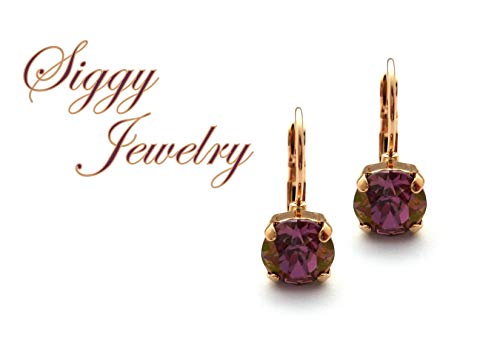 Swarovski® Crystal Earrings, 8mm Lilac Shadow, Purple With Hints of Copper and Gold, Plum, Drops or Studs, Assorted Finishes, Gift Packaged ()