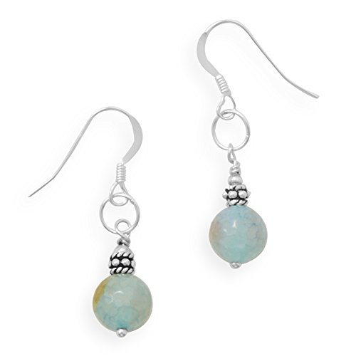 Faceted Green Fire Agate Bead Earrings Sterling Silver