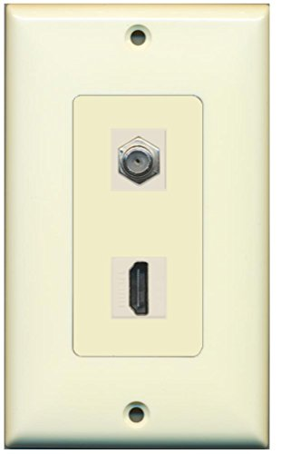 RiteAV - 1 x Cable TV Coax and 1 x HDMI Port Wall Plate Decorative Type - Light Almond ()