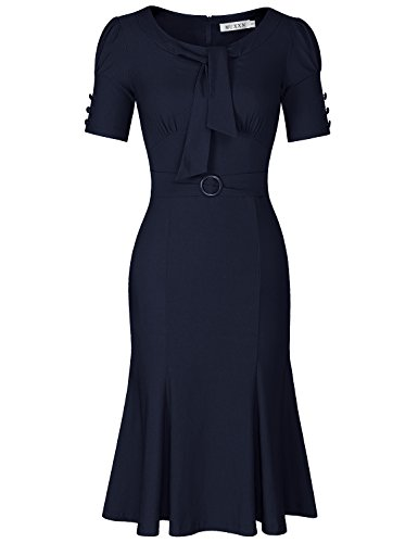 MUXXN Women's Solid Color Button Sleeve Pinup 1950s Mermaid Dress (Blue XL)