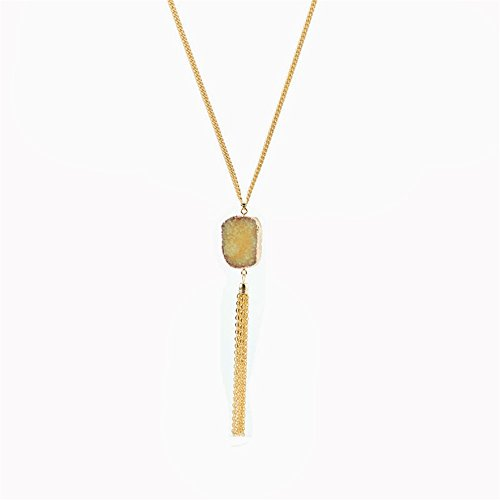 (Bohemian Style Irregular Natural Crystal Stone Tassel Pendant Necklace Jewelry Gifts For Women Girls (Yellow))