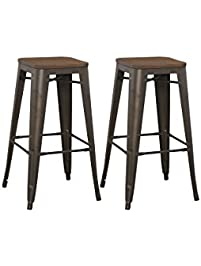 btexpert modern 30 inch solid steel stacking industrial tabouret rustic metal bar stool with wood top