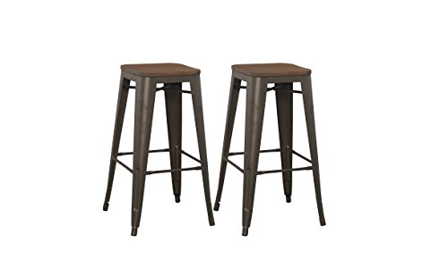 BTEXPERT Modern 30 inch Solid Steel Stacking Industrial Tabouret Rustic Metal Bar Stool with Wood Top Set of 2 Barstool